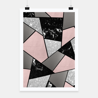 Black White Silver Blush Geometric Glam #1 #geo #decor #art Plakat Bild der Miniatur
