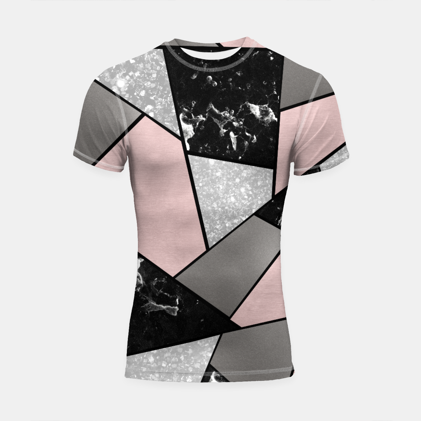 Foto Black White Silver Blush Geometric Glam #1 #geo #decor #art Shortsleeve rashguard - Live Heroes