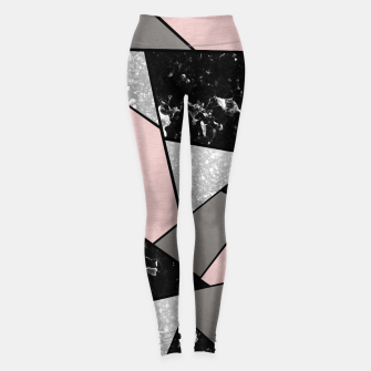 Black White Silver Blush Geometric Glam #1 #geo #decor #art Leggings Bild der Miniatur