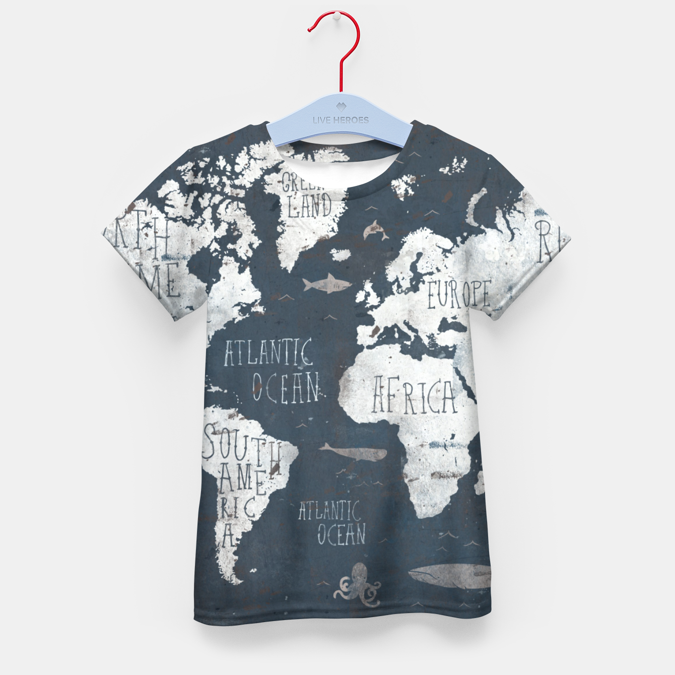 Image of World Map Kid's t-shirt - Live Heroes