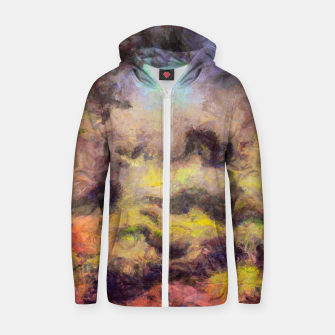 Miniatur abstract misty forest painting 2 hvhdstd Zip up hoodie, Live Heroes