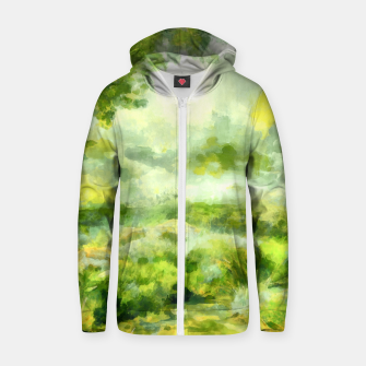 Miniatur aquarelle misty forest painting 2 aqnvtg Zip up hoodie, Live Heroes