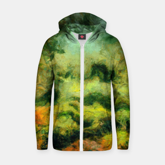 Miniatur abstract misty forest painting 2 hvhdtg Zip up hoodie, Live Heroes