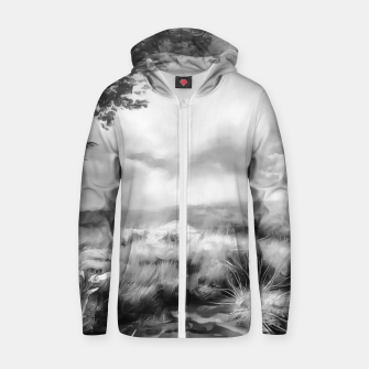 Miniatur acrylic misty forest painting 2 acrbw Zip up hoodie, Live Heroes