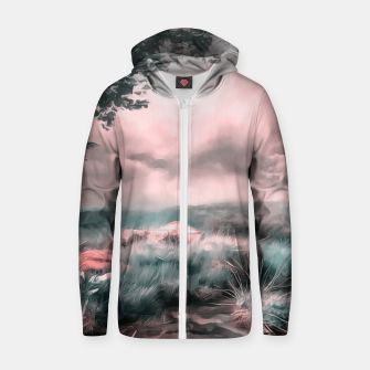 Miniatur acrylic misty forest painting 2 acr2s Zip up hoodie, Live Heroes
