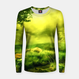 acrylic misty forest painting 2 acrstd Women sweater Bild der Miniatur