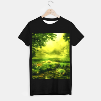 acrylic misty forest painting 2 acrstd T-shirt regular Bild der Miniatur