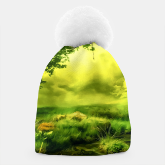 Thumbnail image of acrylic misty forest painting 2 acrstd Beanie, Live Heroes