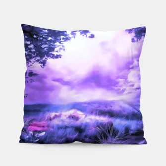 acrylic misty forest painting 2 acrdb Pillow Bild der Miniatur