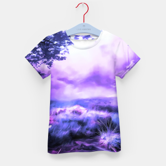 Thumbnail image of acrylic misty forest painting 2 acrdb Kid's t-shirt, Live Heroes