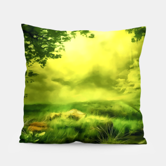 acrylic misty forest painting 2 acrstd Pillow Bild der Miniatur