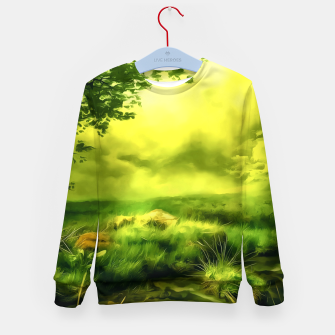 Miniatur acrylic misty forest painting 2 acrstd Kid's sweater, Live Heroes