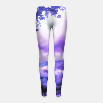 Miniatur acrylic misty forest painting 2 acrdb Girl's leggings, Live Heroes