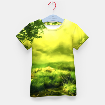 Thumbnail image of acrylic misty forest painting 2 acrstd Kid's t-shirt, Live Heroes