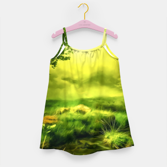 acrylic misty forest painting 2 acrstd Girl's dress Bild der Miniatur