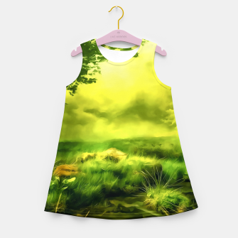 Miniatur acrylic misty forest painting 2 acrstd Girl's summer dress, Live Heroes