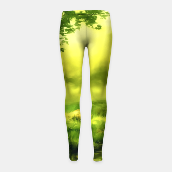 Miniatur acrylic misty forest painting 2 acrstd Girl's leggings, Live Heroes