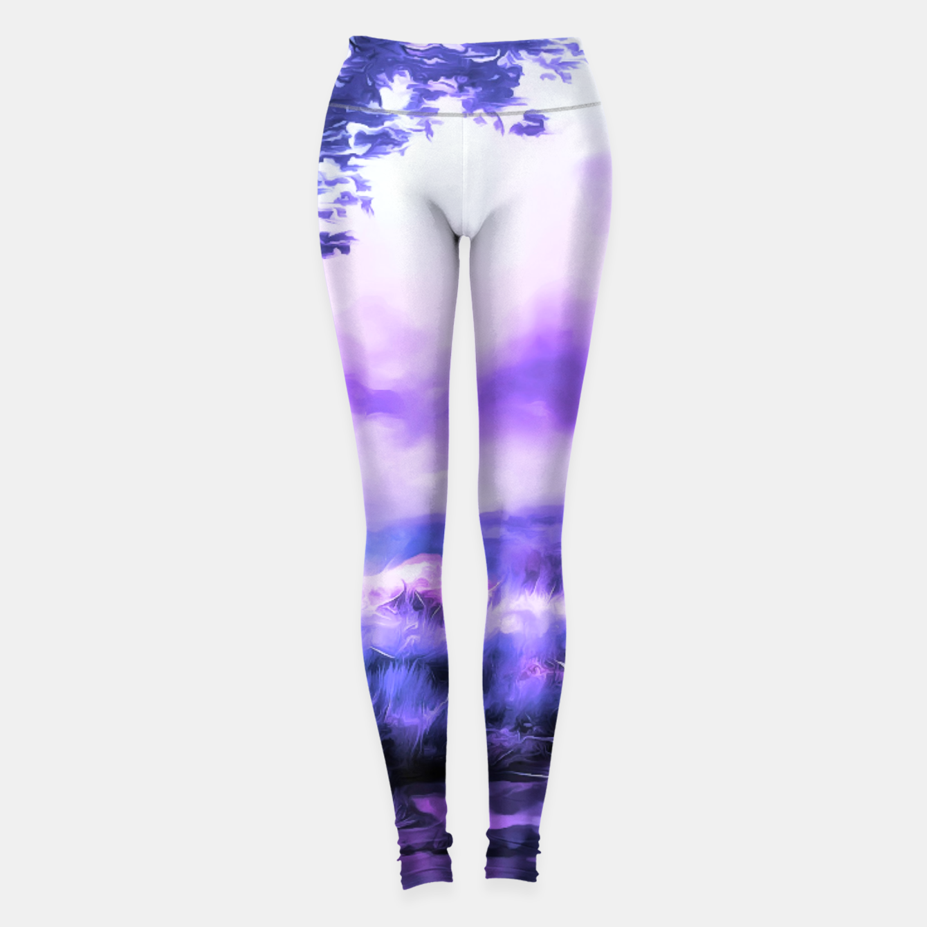 Foto acrylic misty forest painting 2 acrdb Leggings - Live Heroes