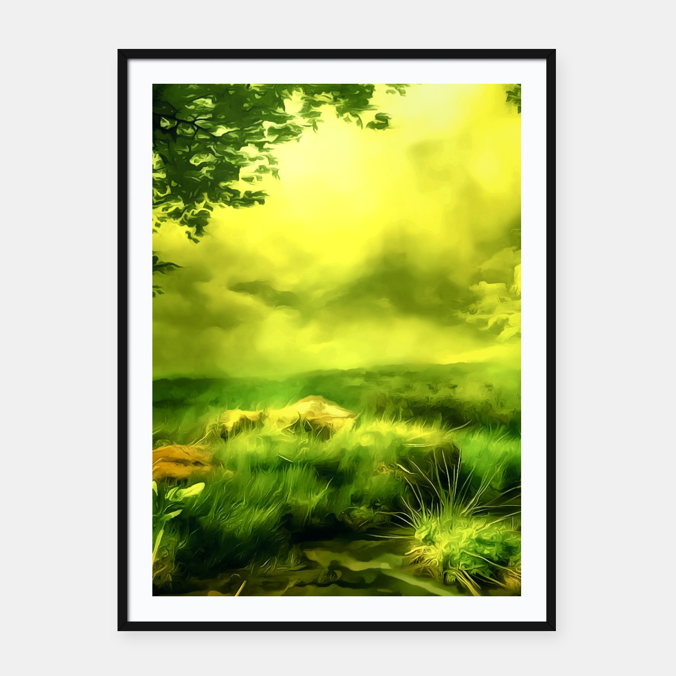 Foto acrylic misty forest painting 2 acrstd Framed poster - Live Heroes