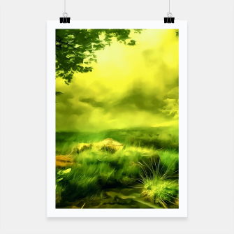 Thumbnail image of acrylic misty forest painting 2 acrstd Poster, Live Heroes