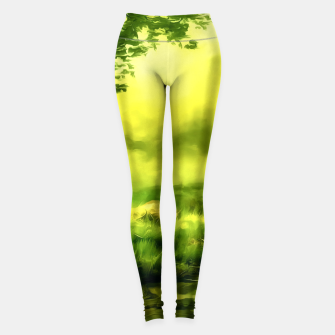 Thumbnail image of acrylic misty forest painting 2 acrstd Leggings, Live Heroes
