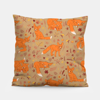 Animals - Cute Foxes Pillow Bild der Miniatur