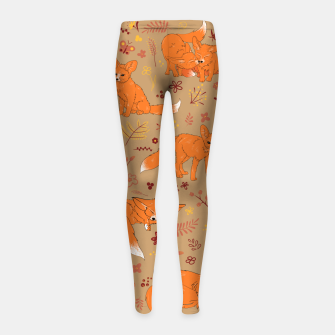 Animals - Cute Foxes Girl's leggings Bild der Miniatur