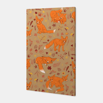 Animals - Cute Foxes Canvas Bild der Miniatur