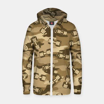 Thumbnail image of Dumbbell Gym Camo DESERT Zip up hoodie, Live Heroes