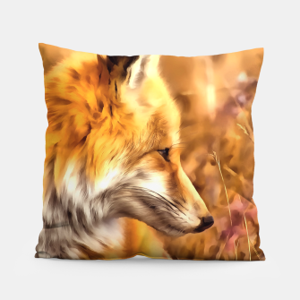 Thumbnail image of red fox acrylic four reacstd Pillow, Live Heroes