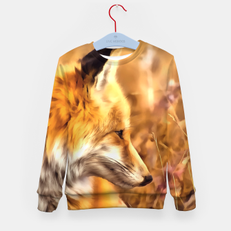 Thumbnail image of red fox acrylic four reacstd Kid's sweater, Live Heroes