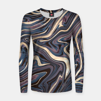 Thumbnail image of Mauve Blue Black White Gold Marble #1 #decor #art  Frauen sweatshirt, Live Heroes