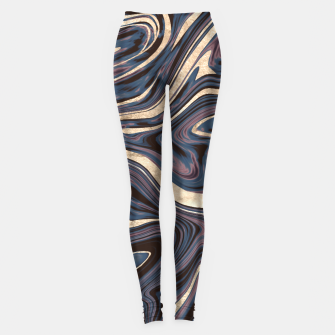 Thumbnail image of Mauve Blue Black White Gold Marble #1 #decor #art  Leggings, Live Heroes