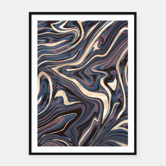 Thumbnail image of Mauve Blue Black White Gold Marble #1 #decor #art  Plakat mit rahmen, Live Heroes