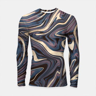 Thumbnail image of Mauve Blue Black White Gold Marble #1 #decor #art  Longsleeve rashguard, Live Heroes