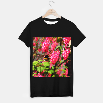 Miniaturka Bumble Bee and Blood Currant Ribes Sanguineum std T-shirt regular, Live Heroes