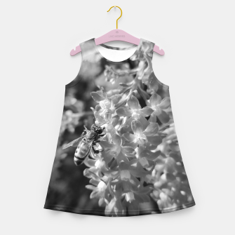 Miniaturka Bee and Blood Currant Ribes Sanguineum bw Girl's summer dress, Live Heroes
