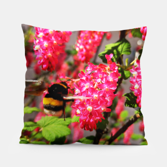 Miniaturka Bumble Bee and Blood Currant Ribes Sanguineum std Pillow, Live Heroes