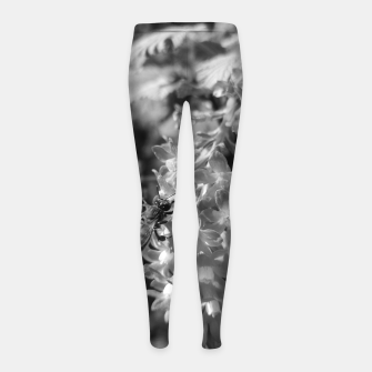 Miniaturka Bee and Blood Currant Ribes Sanguineum bw Girl's leggings, Live Heroes