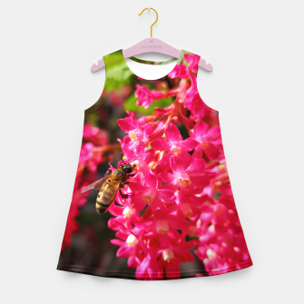 Miniaturka Bee and Blood Currant Ribes Sanguineum std Girl's summer dress, Live Heroes