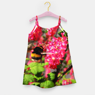 Miniaturka Bumble Bee and Blood Currant Ribes Sanguineum std Girl's dress, Live Heroes