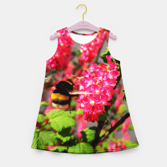 Miniaturka Bumble Bee and Blood Currant Ribes Sanguineum std Girl's summer dress, Live Heroes