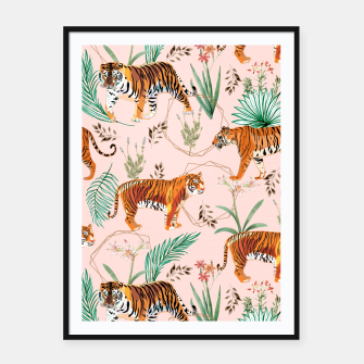 Miniatur Tropical and Tigers Framed poster, Live Heroes