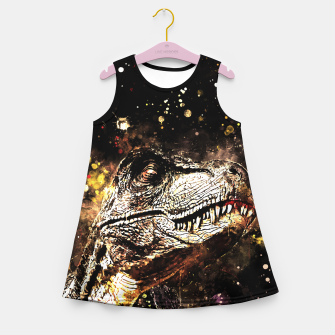 tyrannosaurus rex wssepia Girl's summer dress thumbnail image