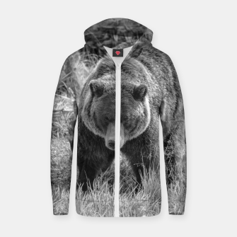 Miniature de image de Alaskan Grizzly Bear - Black and White Zip up hoodie, Live Heroes