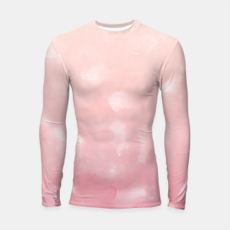 Thumbnail image of Touching Coral Pink Abstract Painting #1 #ink #decor #art  Longsleeve rashguard, Live Heroes