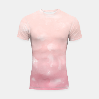 Thumbnail image of Touching Coral Pink Abstract Painting #1 #ink #decor #art  Shortsleeve rashguard, Live Heroes