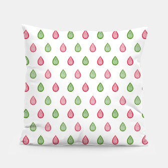 Thumbnail image of Green and pink raindrops pattern Pillow, Live Heroes