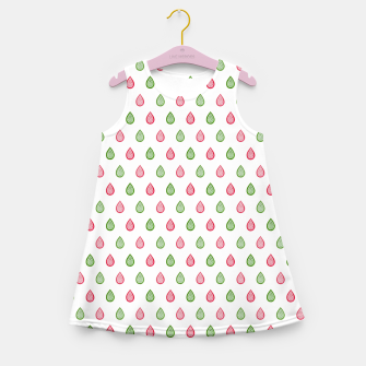 Thumbnail image of Green and pink raindrops pattern Girl's summer dress, Live Heroes