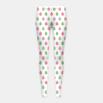 Thumbnail image of Green and pink raindrops pattern Girl's leggings, Live Heroes
